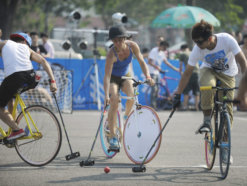 Participants during the third Fixed Gear Revolution in Beijing, 2011. People Visual