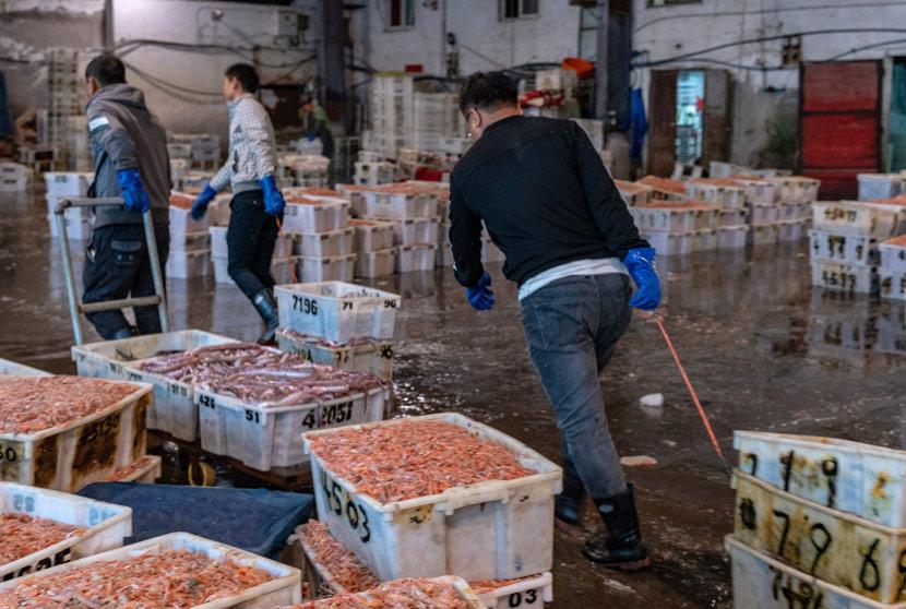 Workers move crates of seafood at Shitang Fishing Port in Taizhou, Zhejiang province, Nov. 18, 2019. Wang Dafu/People Visual