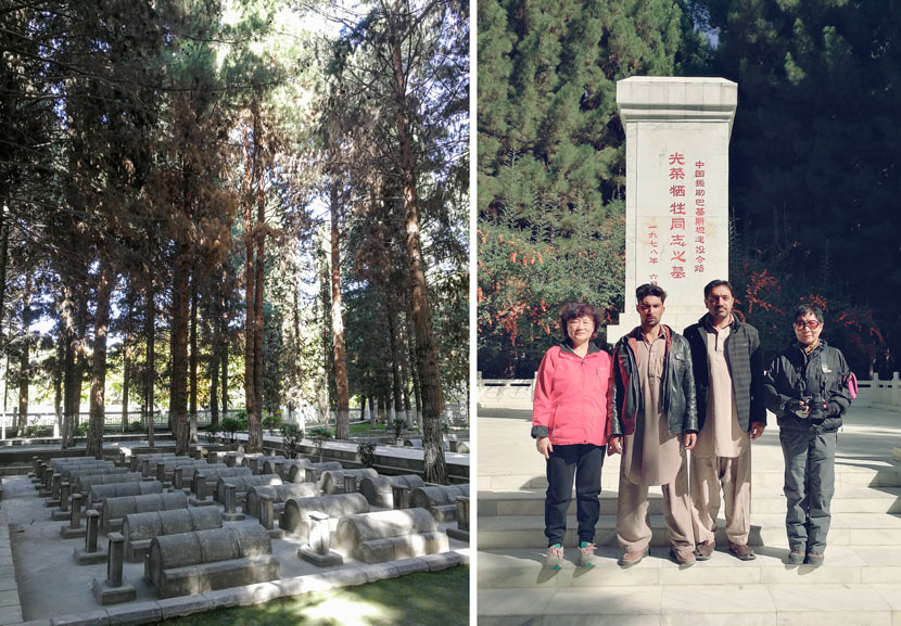 Left: A view of the Chinese Memorial Cemetery in Pakistan; right: Zhang Jingdu, Gao Lirong (far left), and the cemetery's keepers pose for a photo in front of a monument to those who died working on the Karakoram Highway, 2018. Courtesy of Zhang Jingdu