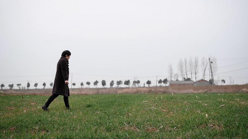 Han Shimei walks through a field in Xichuan County, Henan province, February 2021. Zeng Yinzi for Sixth Tone