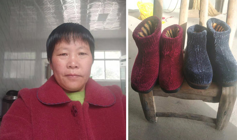 Left: A selfie taken by Han Shimei; right: A photograph of Han's shoes. Courtesy of Han Shimei