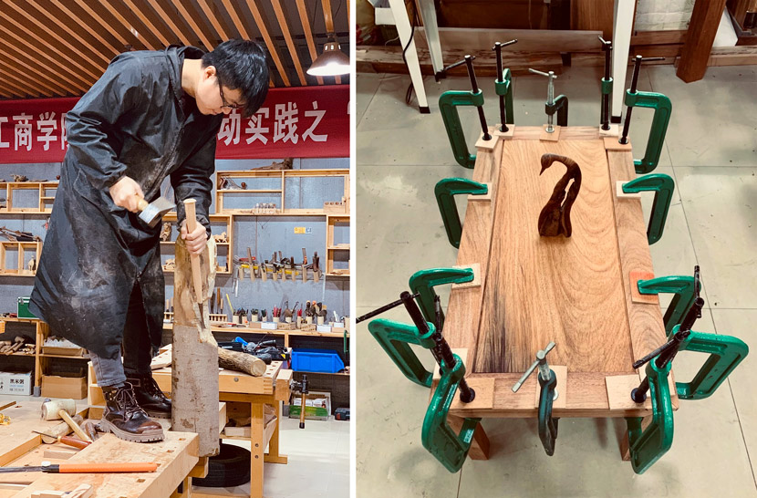 Left: Zhang Mo at work; Right: A desk under construction in Dongyang, Zhejiang province, 2020. Courtesy of Zhang Mo