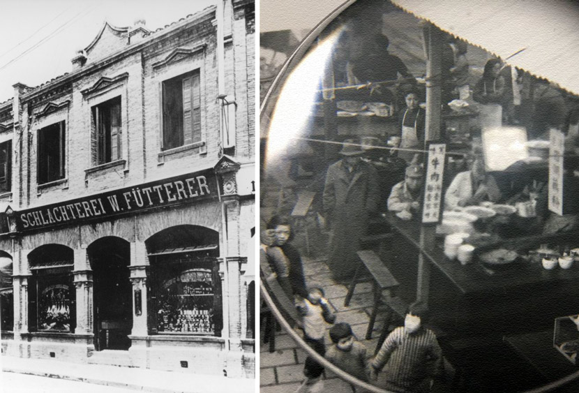 Left: A view of W. Fütterer, a butcher's shop in 19XXs Shanghai. From Shanghai Library; Right: Detail of a photo of a restaurant selling beef dishes in Shanghai, 1945. From Kongfz.com