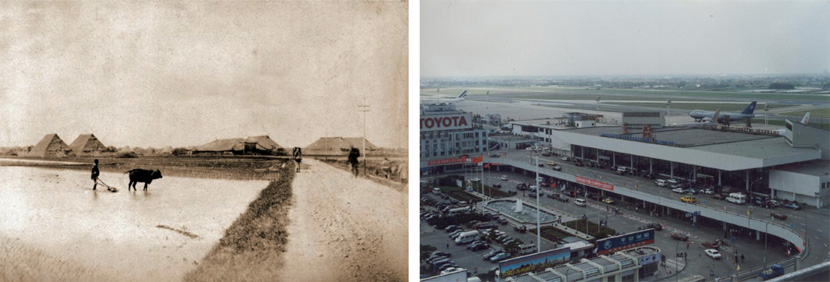 Left: A view of a farmer plowing a field in the Hongqiao area in the early 20th century; right: An aerial view of the modern Shanghai Hongqiao Airport, 1990. Xinmin Evening News