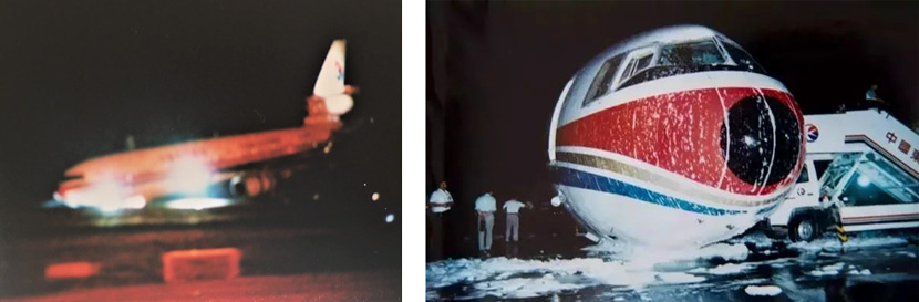 The emergency landing of China Eastern Airlines Flight MU586 on Sept. 10, 1998. Despite faulty landing gear, no passengers or staff were harmed. Courtesy of Luo Keping