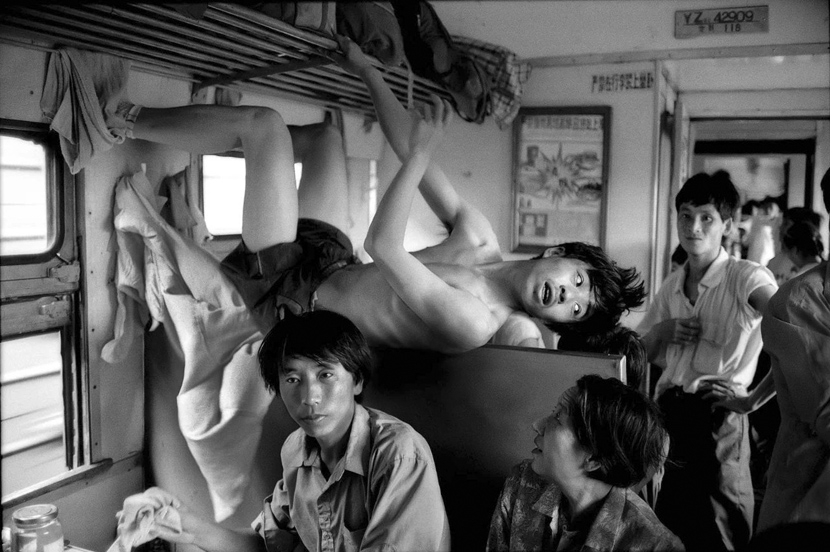 Passengers on a train from Wuhan to Changsha in central China, 1995. Courtesy of Chinese Photography