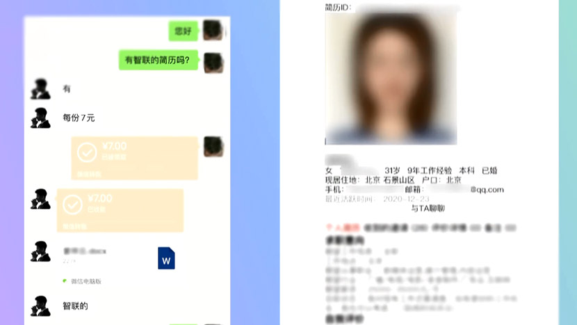 "A screenshot from CCTV's ""315 Evening Gala"" shows a job-seeker's résumé being sold on a messaging app. From @CCTV315 on Weibo"