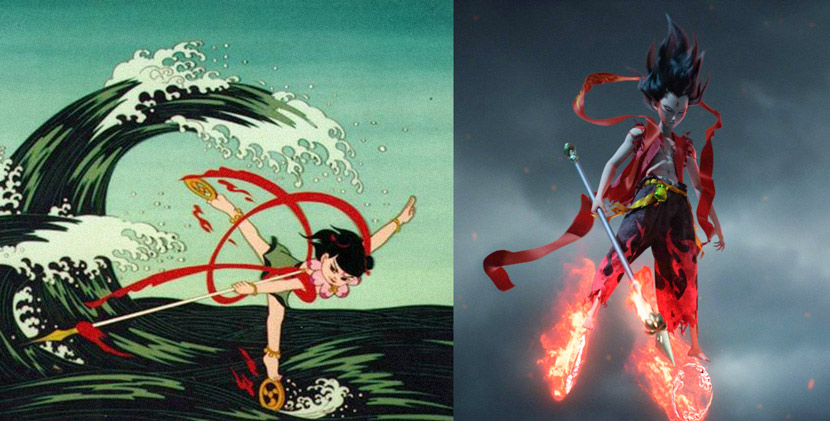 "Stills from the 1979 animated film ""Prince Ne Zha's Triumph Against the Dragon King"" (left) and 2019's ""Ne Zha"" show Nezha riding on his Wind Fire Wheels."
