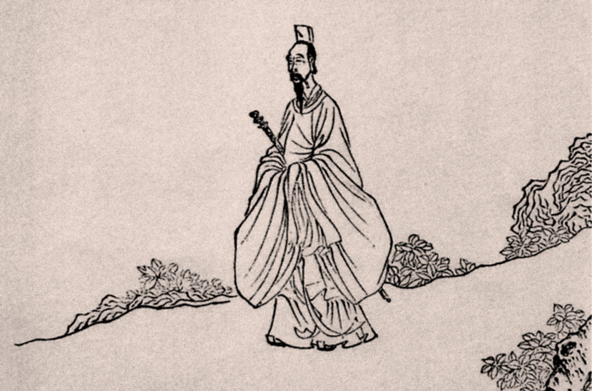 "Details of ""Qu Yuan Sings While Walking,"" by the Ming Dynasty (1368-1644) painter Chen Hongshou. People Visual"