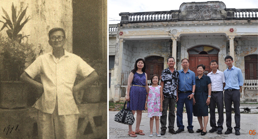 Left: Huang Baoshi poses for a photo in front of the building for the Chinese Consolidated Benevolent Association in Cuba, 1971; Right: Huang Zhuocai and his family pose for a photo in front of the same building in Cuba, 2014. Courtesy of Huang Zhuocai