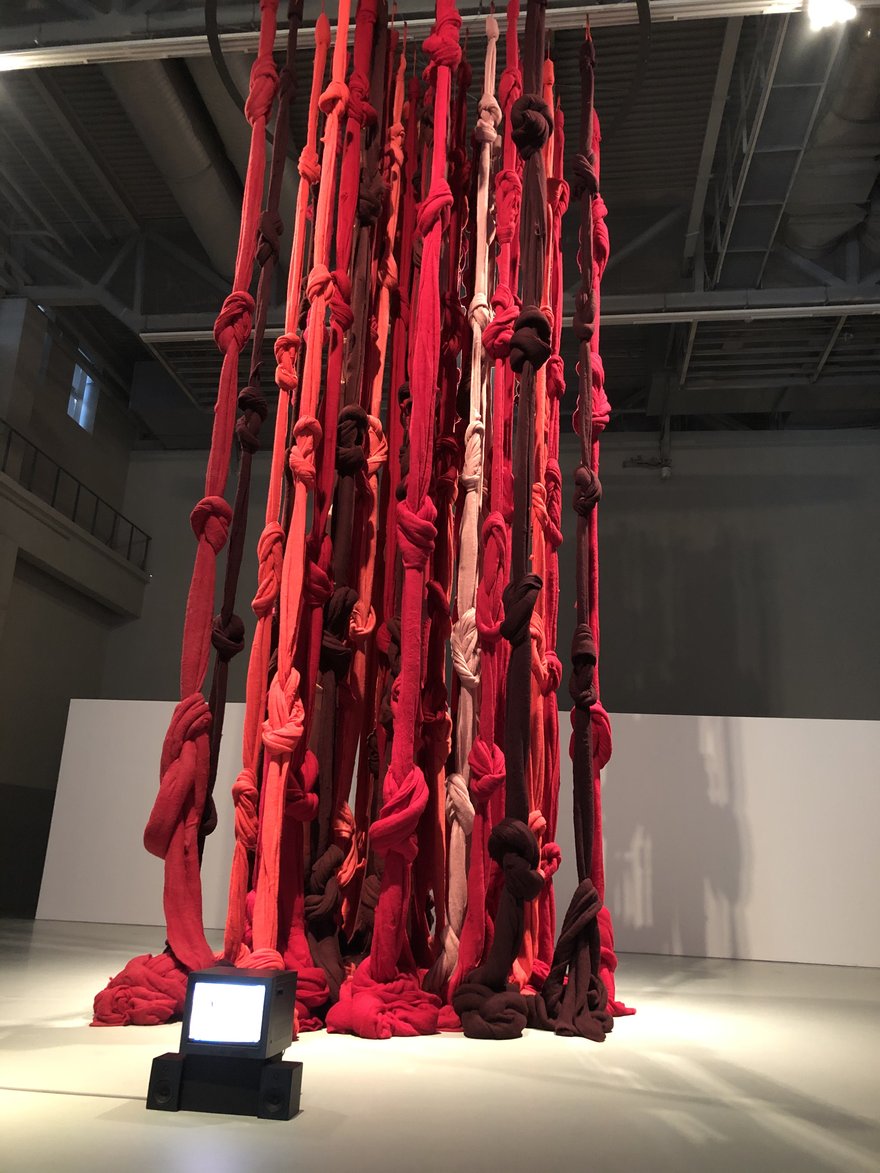 """Quipu Menstrual"" by Chilean artist Cecilia Vicuña, exhibited at the 13th Shanghai Biennale."