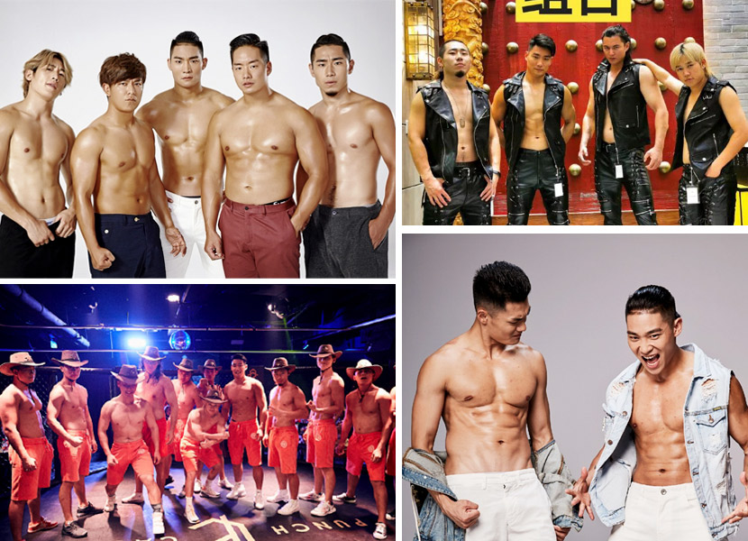 A collage showing OWE fighters posing in various group outfits in studio photo shoots and onstage in Shanghai, 2017-2020. From @ OWE东方职业摔角 on Weibo