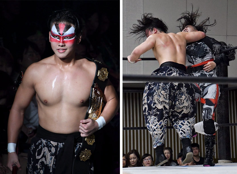 Left: Zhao Junjie holds the Oriental Wrestling Entertainment championship belt, while wearing makeup identifying him as the Chinese war god Guan Yu; right: Zhao strikes another OWE fighter during a show in Japan, 2019. Courtesy of Zhao Junjie