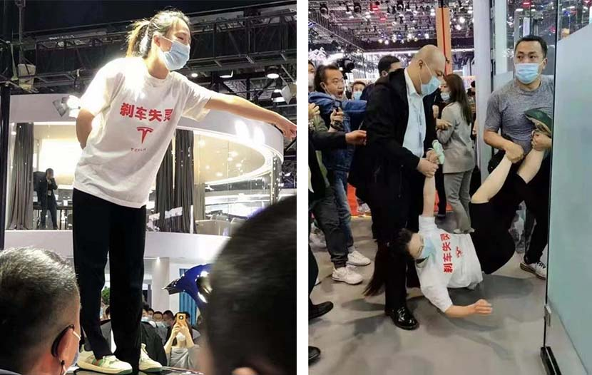 Left: The Tesla owner, Zhang, interrupts the Auto Shanghai expo to protest an alleged brake failure, April 18, 2021; right: Zhang is removed from the venue by security staff. From Weibo