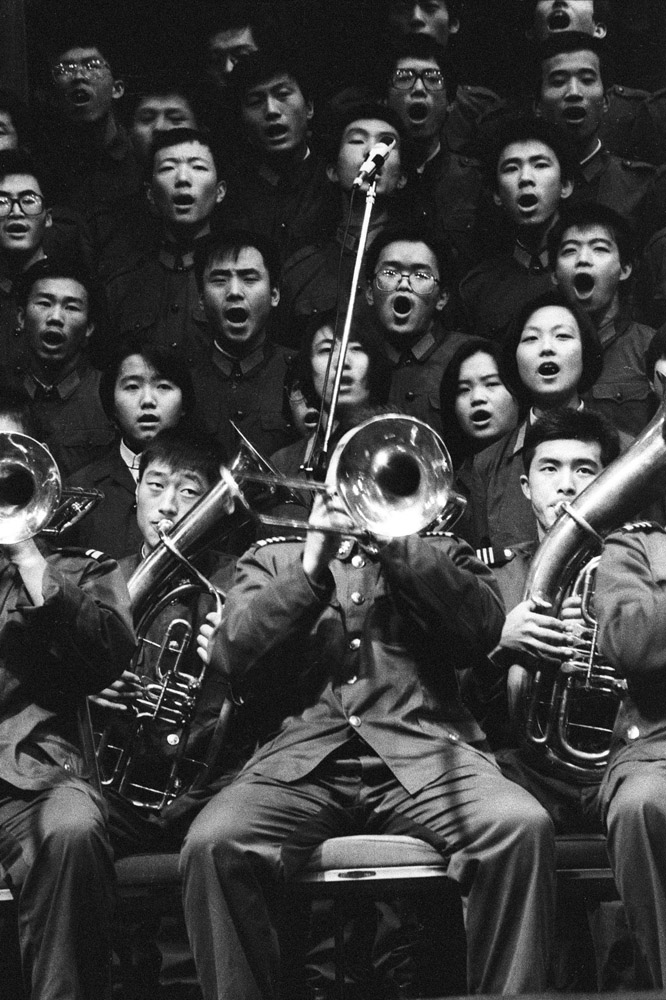 1995: Contestants at the college singing competition in Changchun.