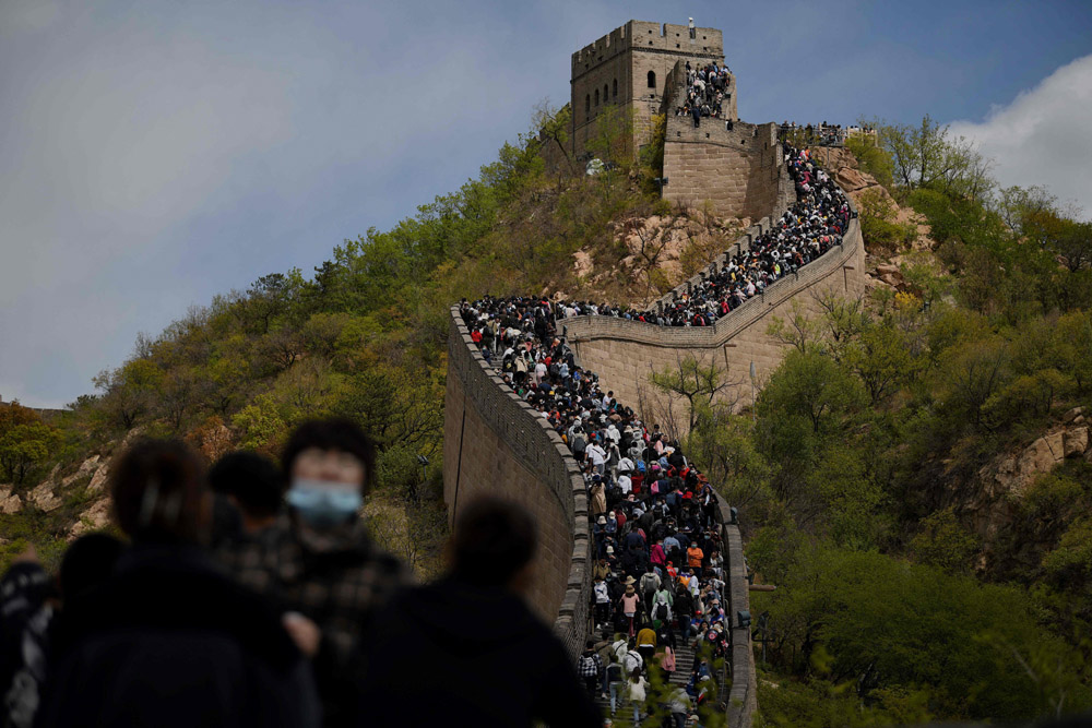 People visit the Great Wall during the Labor Day holiday in Beijing, May 1, 2021. Noel Celis/AFP/People Visual