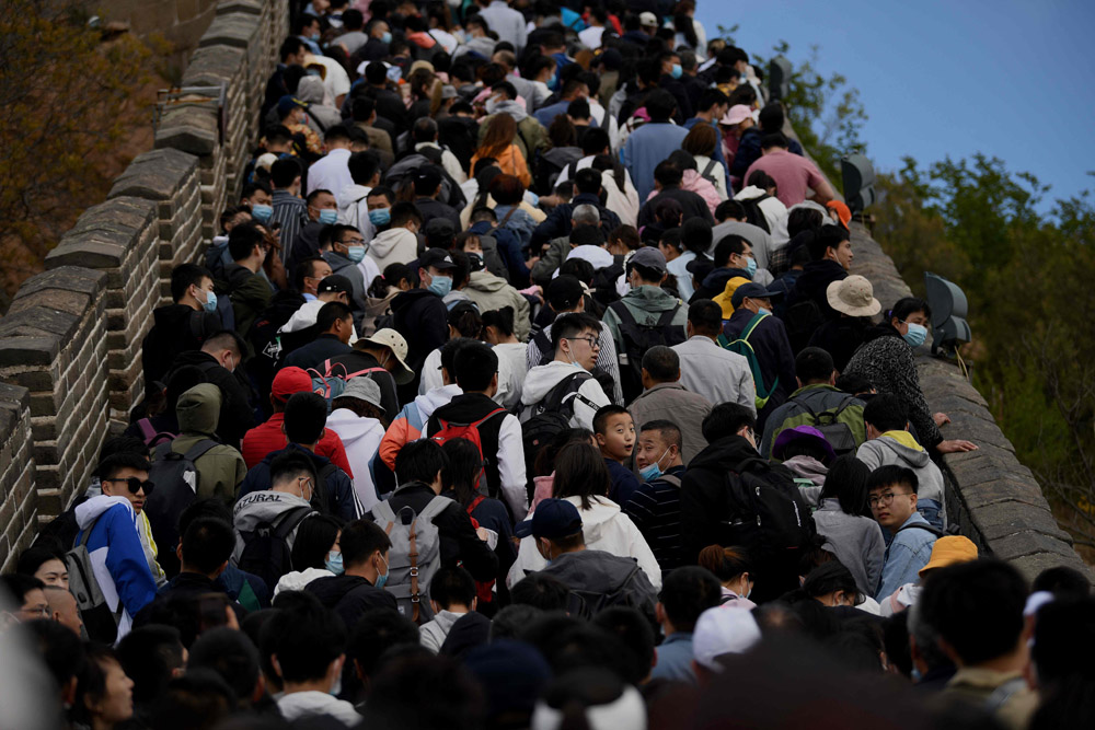 Crowds of people are packed onto the Great Wall during the Labor Day holiday in Beijing, May 1, 2021. Noel Celis/AFP/People Visual