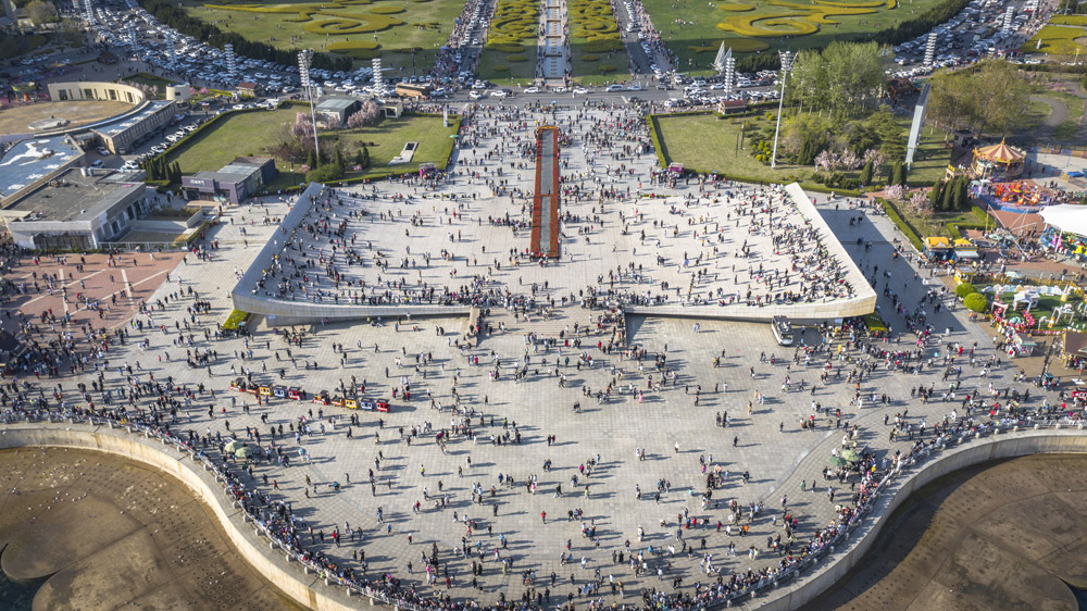 An aerial view of Xinghai Square in Dalian, Liaoning province, May 2, 2021. Gu Yue/People Visual