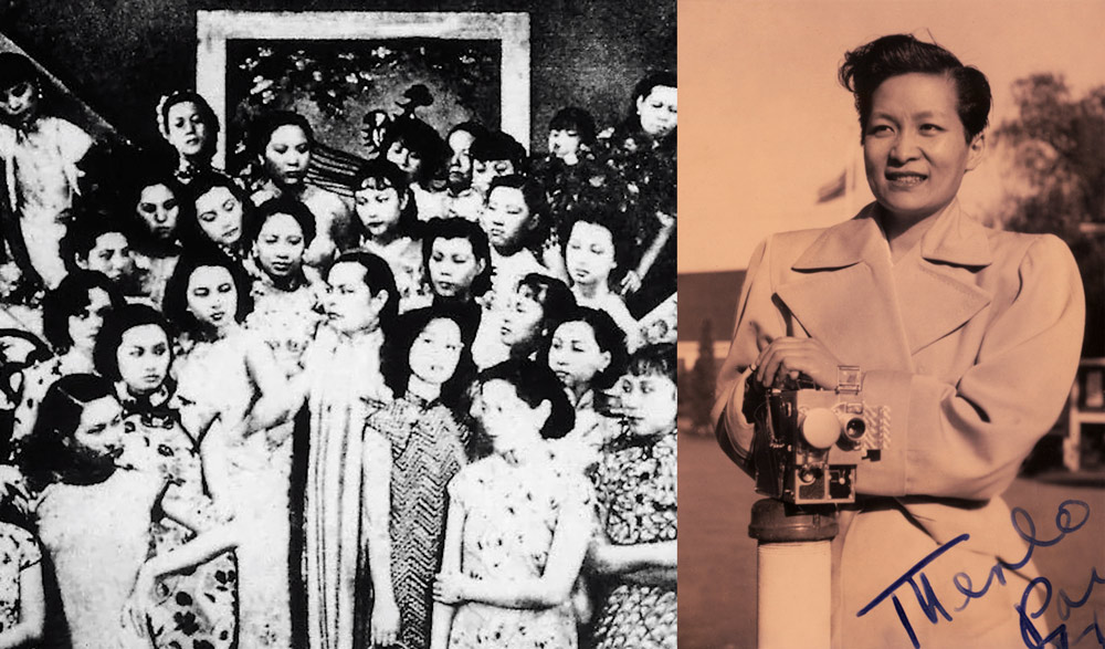 """Left: A still from """"It's a Women's World,"""" 1939; Right: Esther Eng. Courtesy of Luka Yuanyuan Yang"""