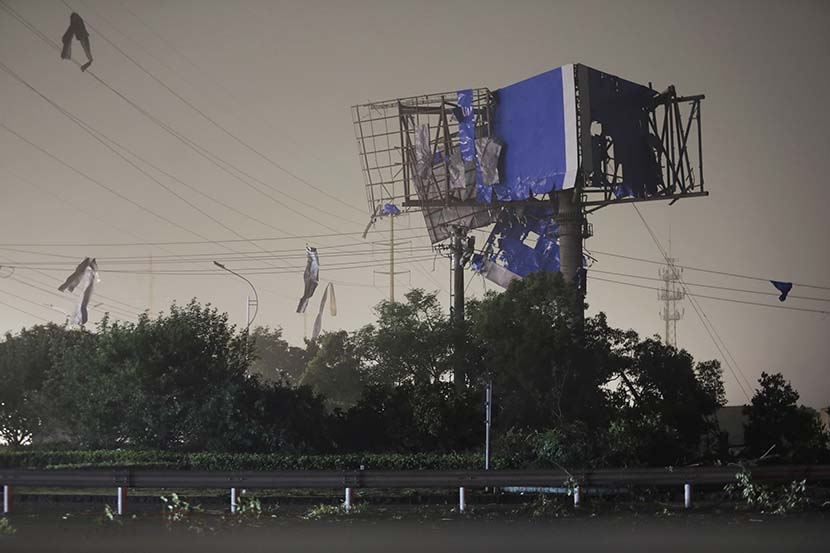 Electric wires and telegraph poles are destroyed by a tornado in Suzhou, Jiangsu province, May 15, 2021. People Visual
