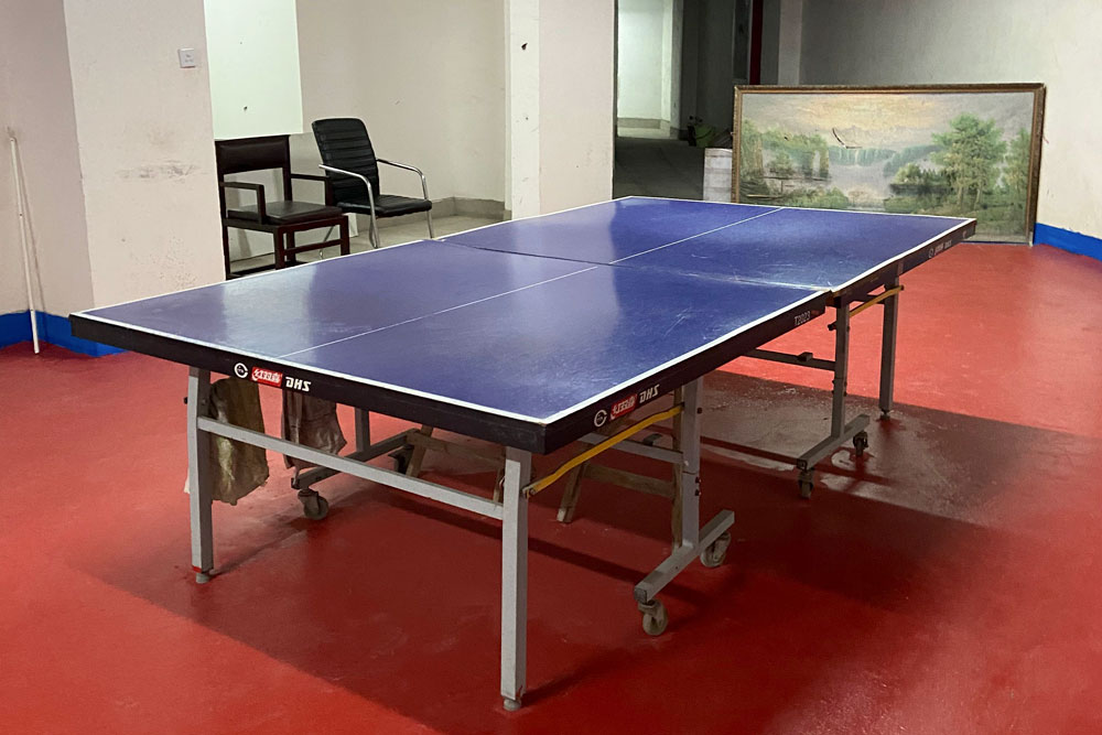 The sports room Xu manages in Shanghai. He now uses WeChat to call his friends and play table tennis. Courtesy of Ma Qinglong