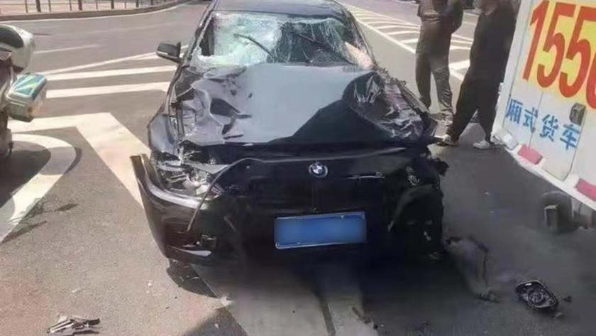 The vehicle Liu was driving when he rammed into pedestrians in downtown Dalian, Liaoning province, May 22, 2021. Xinhua