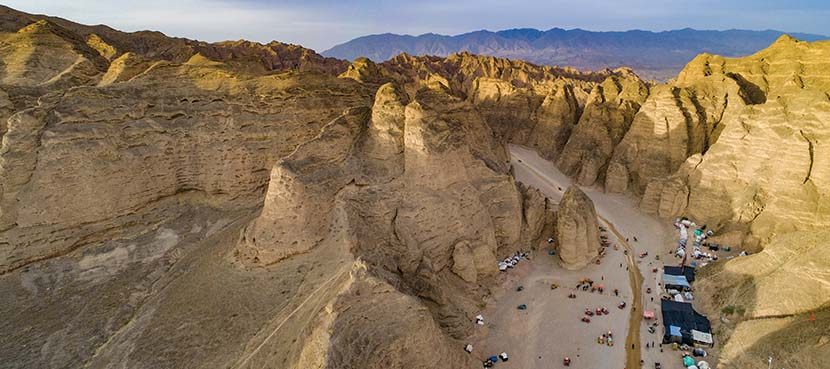 An aerial view of the Yellow River Stone Forest tourist site in Baiyin, Gansu province, May 1, 2021. People Visual