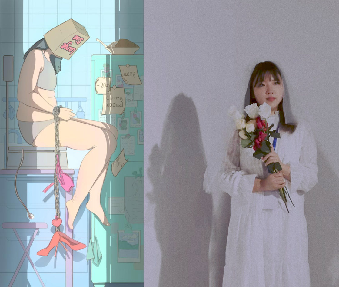 """Left: """"Body Shame,"""" by DBStone, an artwork displayed at the """"Anti Body-Shaming"""" exhibition; right: Zhang wears a bridal dress at the exhibition, in Shanghai, 2021. Courtesy of Zhang"""