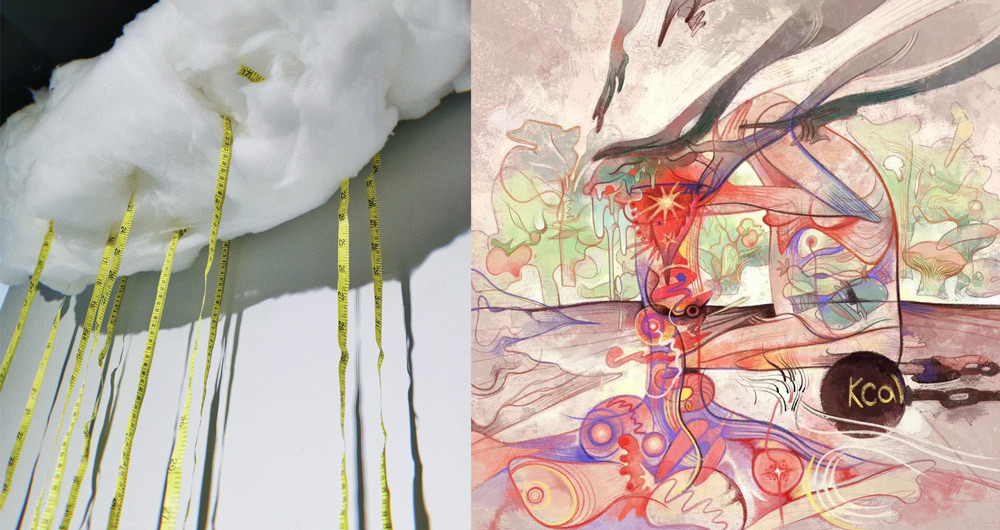 """Left: """"Needles,"""" by Wang Yujie, 2021; right: """"Unwarranted Guilt,"""" by Jilroy, an artwork from the exhibition """"Anti Body-Shaming."""" From @喜玛拉雅美术馆 on Weibo"""