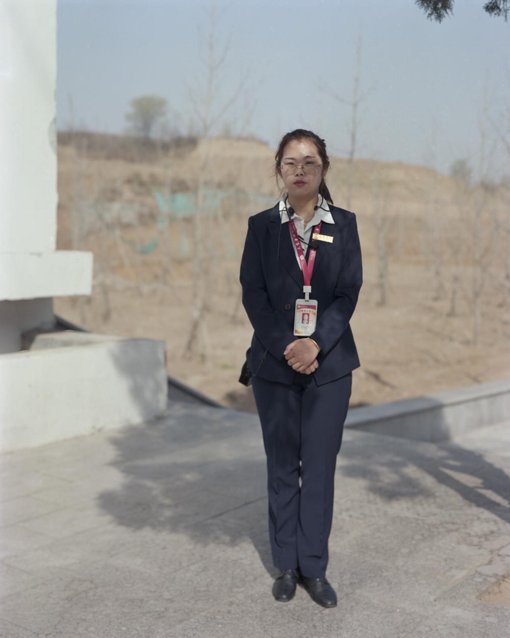 Zhao Mei works as a tour guide in Dazhai Village, Shanxi province, April 20, 2021. Shi Yangkun/Sixth Tone