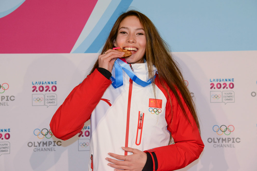 Eileen Gu poses with her gold medal from the Women's Freeski Halfpipe event in the 2020 Winter Youth Olympic Games in Lausanne, Switzerland, Jan. 21, 2020. Christopher Levy/ZUMA Wire/People Visual