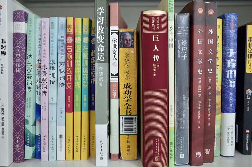 Some of Liu Jiasen's books about success. Li Yiming for Sixth Tone