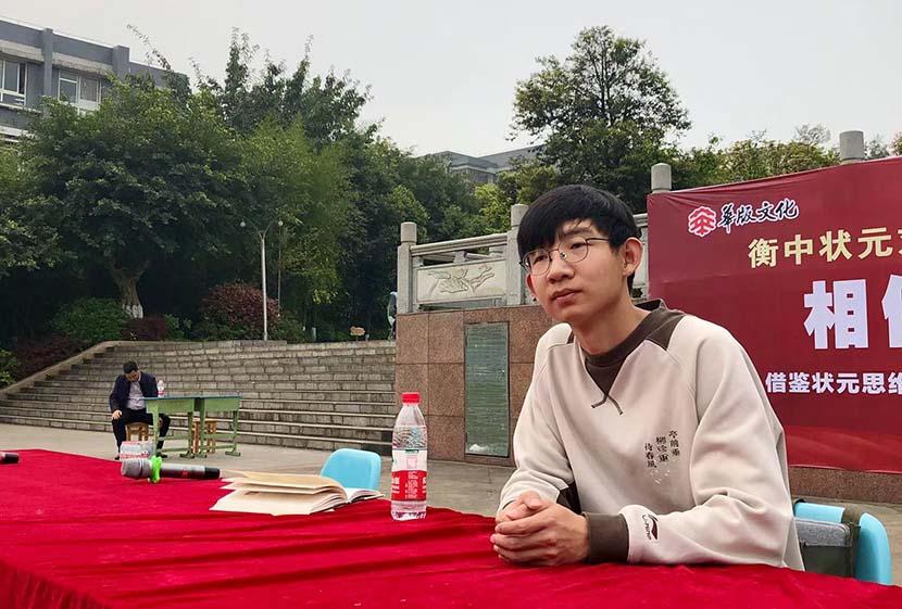 Liu Jiasen delivers a speech at a school. Courtesy of Liu