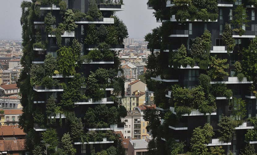 The two Bosco Verticale residential towers in the Porta Nuova district of Milan, Italy, Aug. 3, 2017. IC