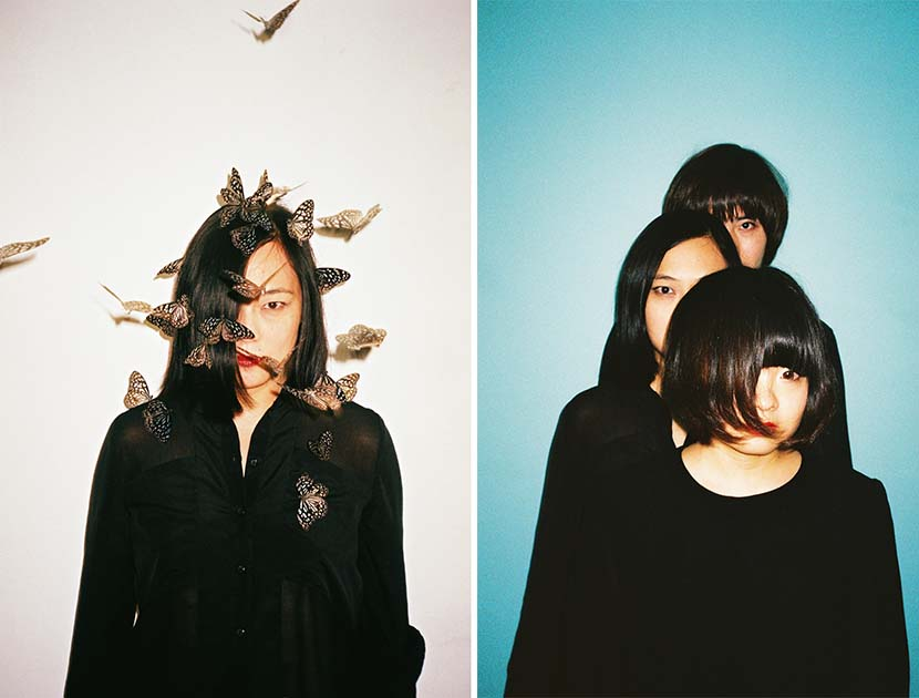 Left: Helen Feng poses with butterflies in a picture by the late photographer Ren Hang; right: Nova Heart band members pose together in a photo by Ren Hang. Courtesy of FakeMusicMedia