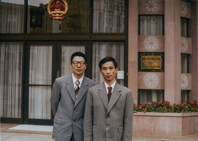 Liu Baicheng (left) poses for a photo in front of the Chinese embassy in Washington, D.C., 1979. Courtesy of Liu Baicheng
