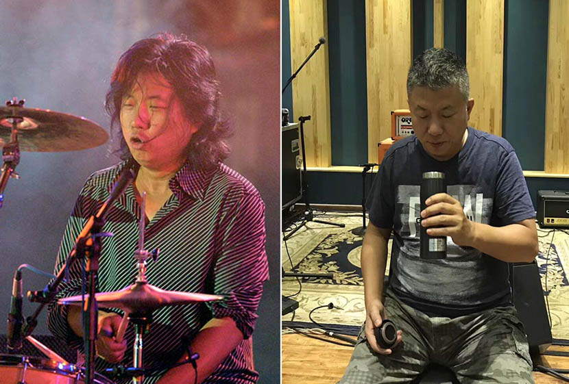 Left: Zhao Mingyi plays the drums during a concert in 2003. Cheng Gong/IC; right: The viral photo of Zhao holding his thermos at a recording studio in 2017. From his Weibo account