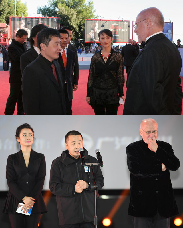 Top: Marco Mueller, director Jia Zhangke, and actress Zhao Tao chat at a film festival in 2006. Courtesy of Marco Mueller; bottom: Marco Mueller, Jia Zhangke, and Zhao Tao stand onstage at the inaugural Pingyao International Film Festival, Shanxi province, 2017. IC