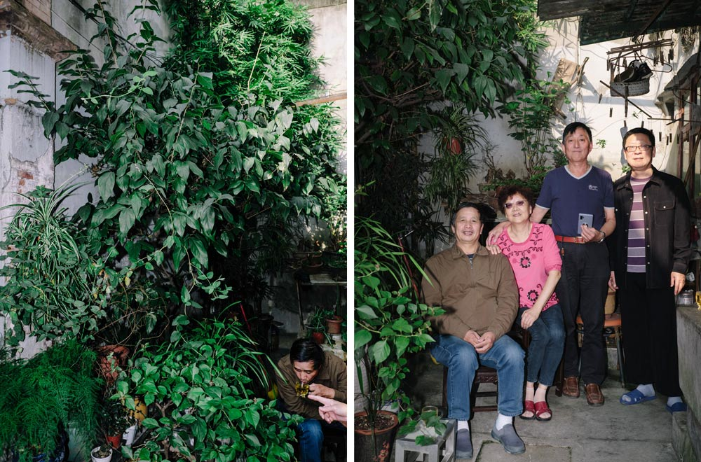 Left: Deng's garden outside his old home in Yeguang Li; Right: Deng poses for a photo with his family and friends in Yeguang Li, Shanghai, Oct. 17, 2020. Zhou Pinglang for Sixth Tone