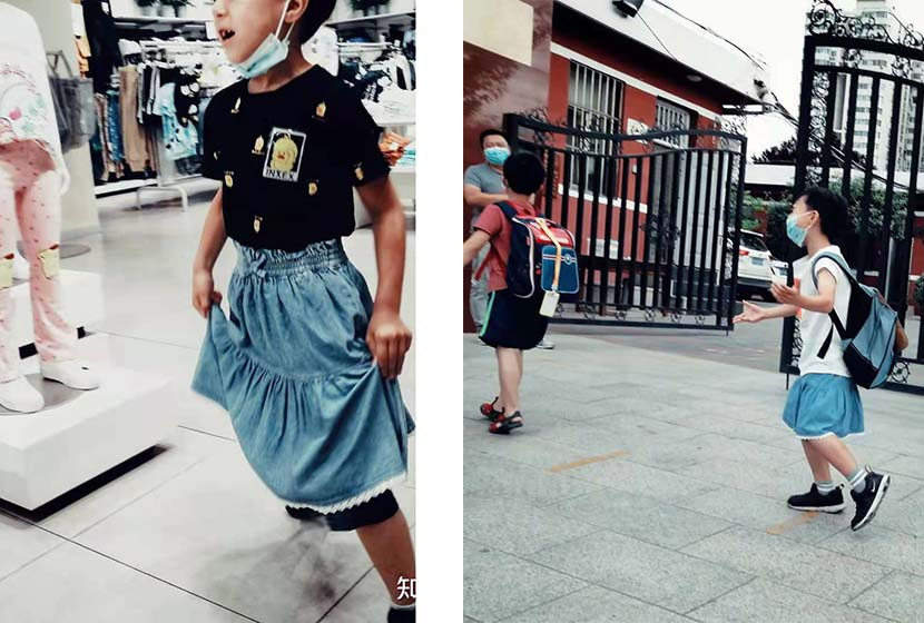 Left: Lele purchases a skirt; right: Lele wearing the skirt to school. From @仰泳的海星 on Zhihua