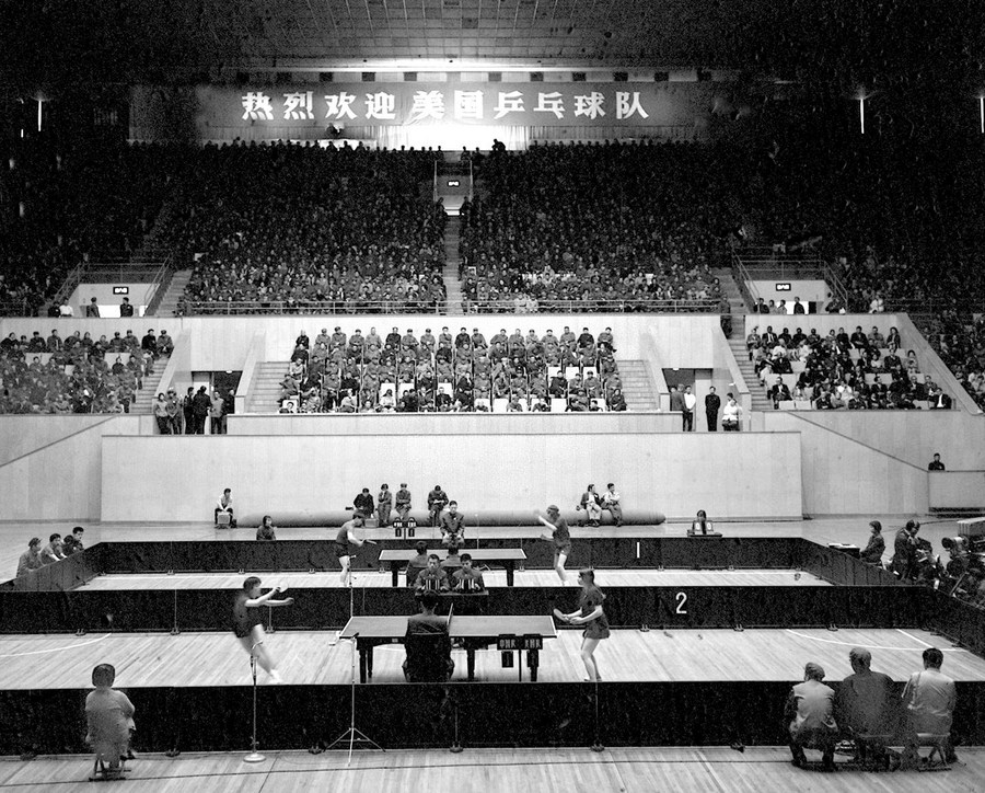 Players from China and the United States take part in a table tennis friendly match in Beijing, China, April 13, 1971. From NARA