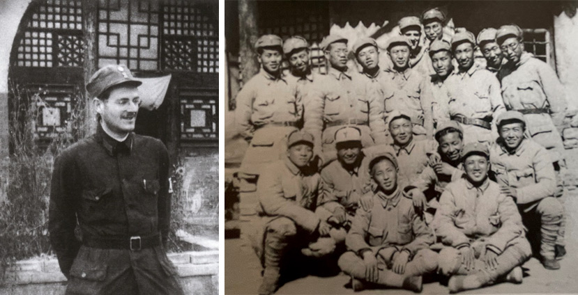 Left: Richard Frey poses for a photo in front of a cave dwelling in Yan'an, Shaanxi province; Right: Frey (far back, left) with his comrades at the Jin-Cha-Ji Health School. Courtesy of the Shanghai Jewish Refugees Museum