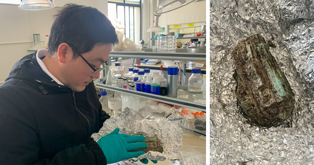 Ma Xiao analyses a small sample of ivory tusk excavated at Sanxingdui at his lab in Shanghai, April 2021. Ye Ruolin/Sixth Tone