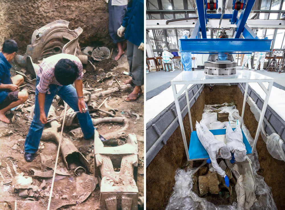 Left: Researchers use traditional tools to excavate Pits 1 and 2 at Sanxingdui, Sichuan province, 1986. Courtesy of archaeologist Chen De'an, via Xinhua; Right: Researchers excavate Pit 3 while suspended on a board above the soil, March 19, 2021.
