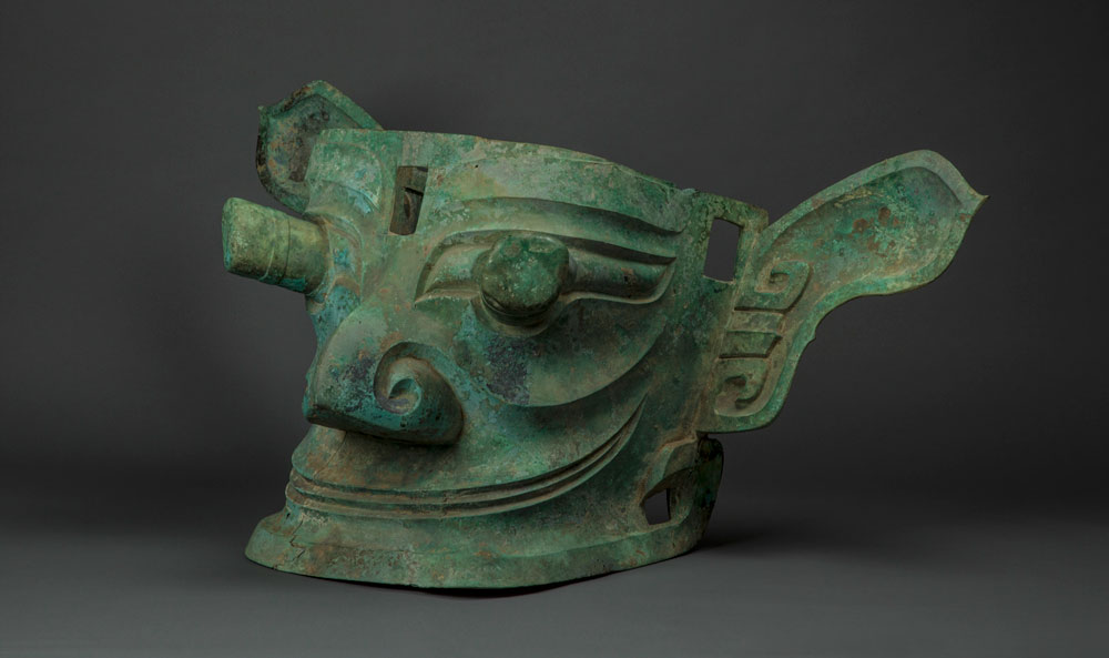 A view of a large bronze statue unearthed at Sanxingdui, which has aroused researchers' curiosity due to its unusual, protruding eyes. Courtesy of Sanxingdui Museum