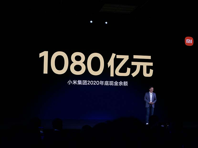 Xiaomi CEO Lei Jun during a product launch in Beijing, March 30, 2021. People Visual