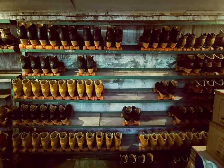 A shelf for storing roller skates at the Quanjian Roller Rink in Nanchang, Jiangxi province. Courtesy of Youxun Road Sparkles
