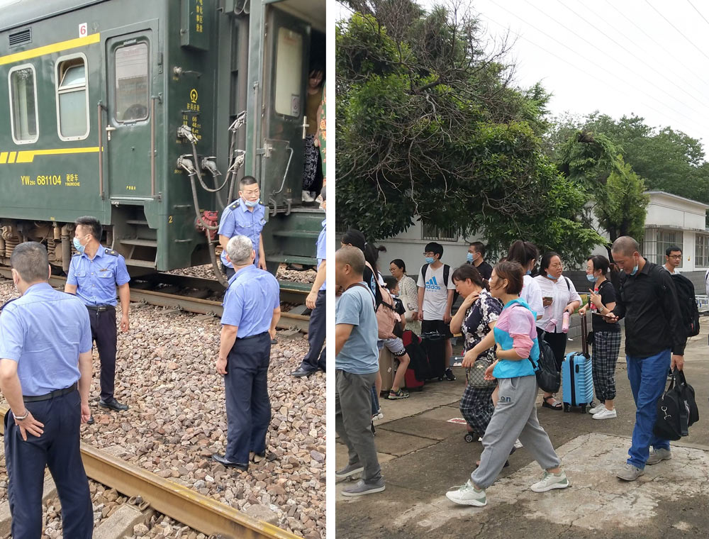 Passengers get off the K15 train, July 21, 2021. Courtesy of He Bei