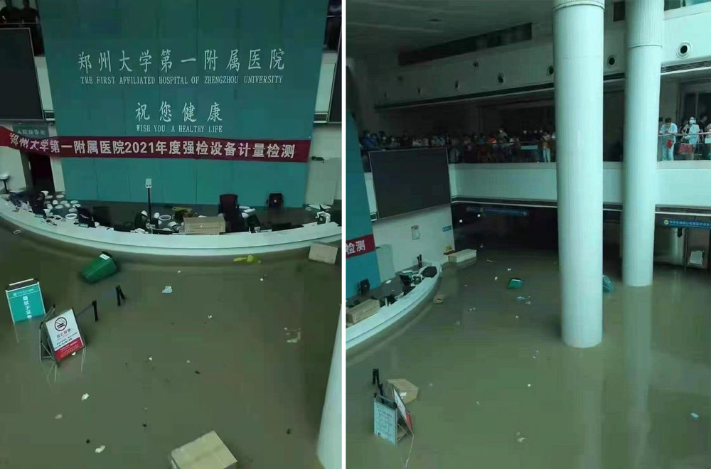 A view of the flooded First Affiliated Hospital of Zhengzhou University, Henan province, June 20, 2021. From @时代周报 on Weibo
