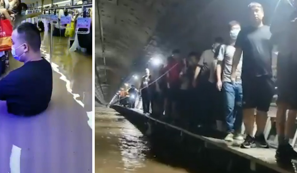 Left: Commuters trapped in Line 5 of Zhengzhou; Right: Passengers walk in the underground tunnel, July 2021. From The Paper